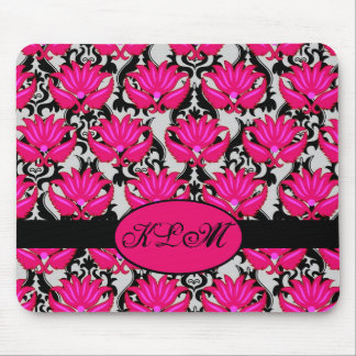 Fuchsia Pink Black Grey Parisian Damask Monogram Mouse Pad