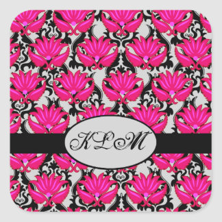 Fuchsia Pink Black Grey Parisian Damask Monogram Square Sticker