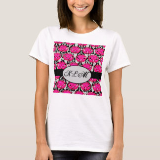 Fuchsia Pink Black Grey Parisian Damask Monogram T-Shirt