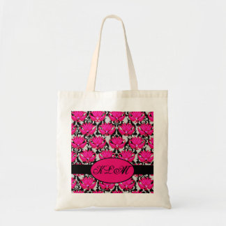 Fuchsia Pink Black Grey Parisian Damask Monogram Tote Bag