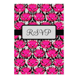 Fuchsia Pink Black Nouveau Damask RSVP Response Invitation