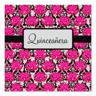 Fuchsia Pink Black Quinceañera 15th Birthday Party Card