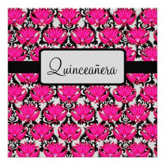 Fuchsia Pink Black Quinceañera 15th Birthday Party Personalized Invites