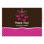 Fuchsia Pink & Brown Mobile Thank You Note Card