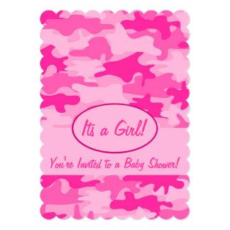 Fuchsia Pink Camo Camouflage Baby Shower 5x7 Paper Invitation Card