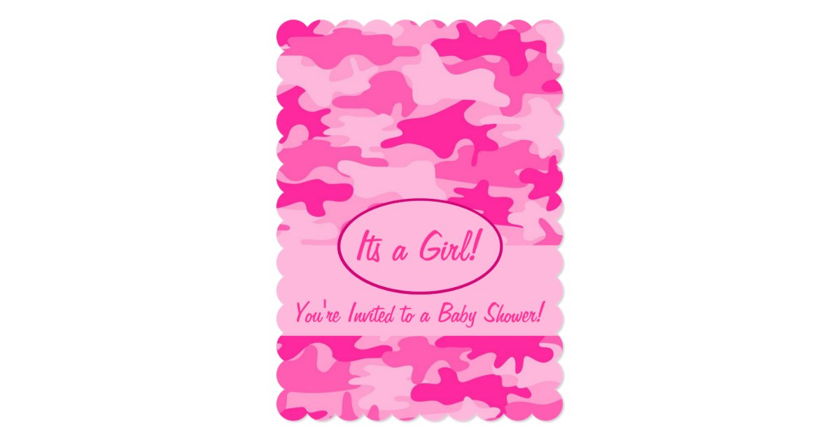 fuchsia pink camo camouflage baby shower card zazzle