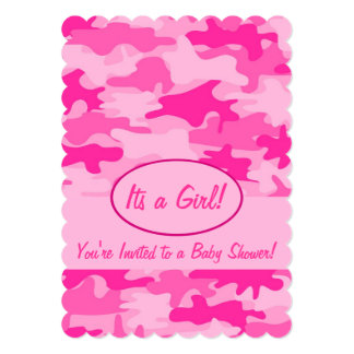 Fuchsia Pink Camo Camouflage Baby Shower 5x7 Paper Invitation Card