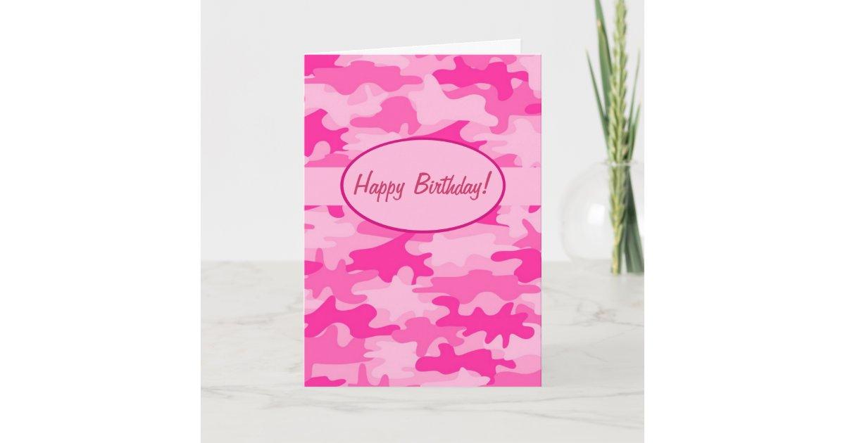 Fuchsia Pink Camo Camouflage Happy Birthday Custom Card Zazzle