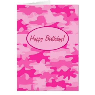 Fuchsia Pink Camo Camouflage Happy Birthday Custom Card