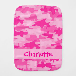 Fuchsia Pink Camo Camouflage Name Personalized Baby Burp Cloth