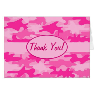 Fuchsia Pink Camo Camouflage Thank You Custom Greeting Card