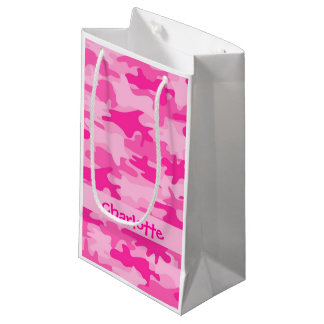 Fuchsia Pink Camouflage Name Personalized Small Gift Bag