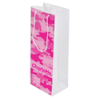 Fuchsia Pink Camouflage Name Personalized Wine Gift Bag