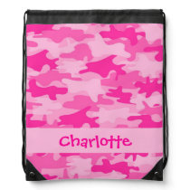 Fuchsia Pink Camouflage Name Personalized Drawstring Bag