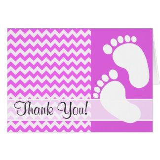 Fuchsia Pink Chevron Stripes Greeting Card