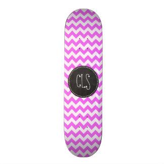 Fuchsia Pink Chevron Stripes; Chalkboard look Skate Board Decks