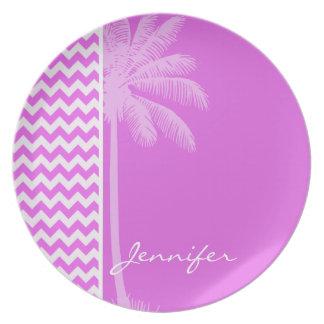 Fuchsia Pink Chevron Stripes; Summer Palm Party Plates