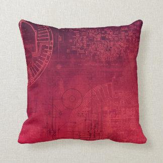 Fuchsia Pink Circuit Board computer geek nerd Throw Pillow