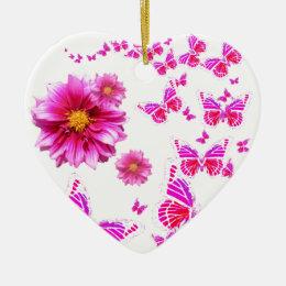 Fuchsia Pink Dahlia's & Butterflies white Pattern Ceramic Ornament