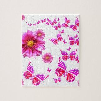 Fuchsia Pink Dahlia's & Butterflies white Pattern Jigsaw Puzzle