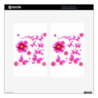 Fuchsia Pink Dahlia's & Butterflies white Pattern Skins For Kindle Fire