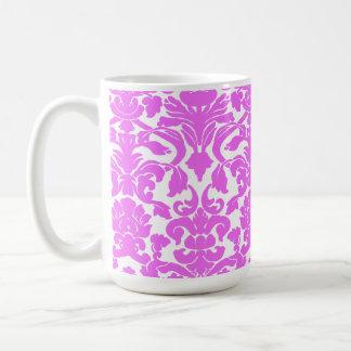 Fuchsia Pink Damask Classic White Coffee Mug