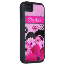 Fuchsia Pink Floral iPhone 5 5S Tough Xtreme Case