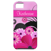 Fuchsia Pink Floral iPhone 5 5S Vibe Case Cover