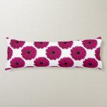 Fuchsia Pink Gerbera Daisy Black/White Swirl Girly Body Pillow