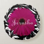 Fuchsia Pink Gerbera Daisy Black/White Swirl Girly Round Pillow