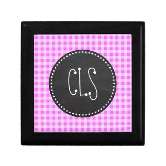 Fuchsia Pink Gingham; Vintage Chalkboard Keepsake Box