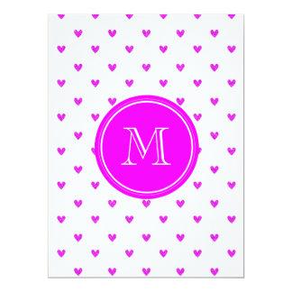 Fuchsia Pink Glitter Hearts with Monogram Card