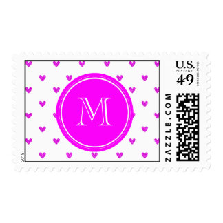 Fuchsia Pink Glitter Hearts with Monogram Postage Stamps