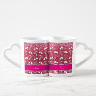 Fuchsia pink glitter nurse hats silver caduceus couples' coffee mug set