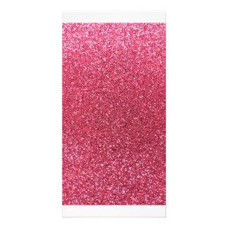 Fuchsia pink glitter custom photo card