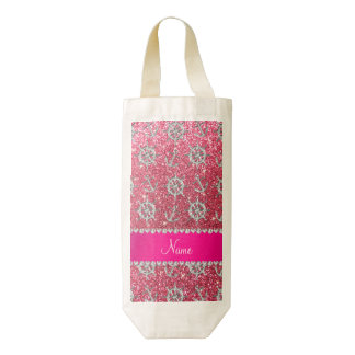 Fuchsia pink glitter silver anchors ships wheel zazzle HEART wine bag