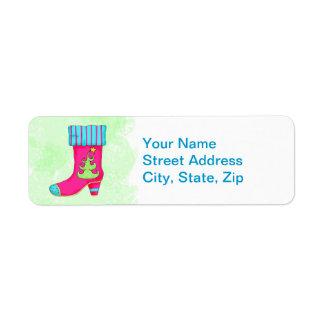 Fuchsia Pink Green Merry Christmas Boot Stocking Label