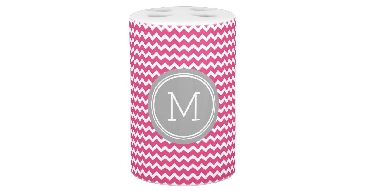 Fuchsia pink grey chevron pattern bath accessory set zazzle for Pink and grey bathroom accessories