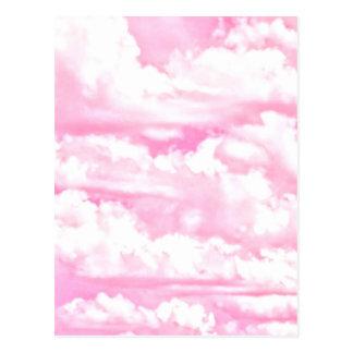 Fuchsia Pink Happy Clouds Decor Postcard