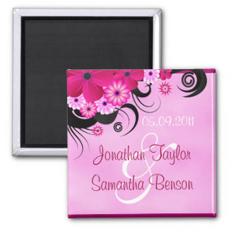 Fuchsia Pink Hibiscus Floral Save The Date Magnets