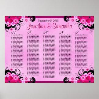 Fuchsia Pink Hibiscus Wedding Table Seating Charts Print