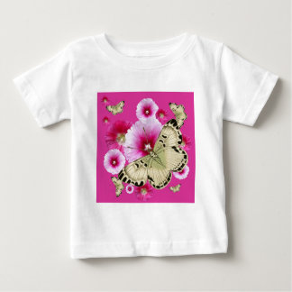 FUCHSIA PINK HOLLYHOCKS  YELLOW BUTTERFLIES BABY T-Shirt