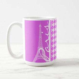 Fuchsia Pink Houndstooth; Paris Coffee Mug