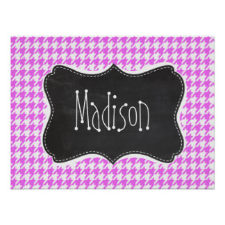 Fuchsia Pink Houndstooth Posters