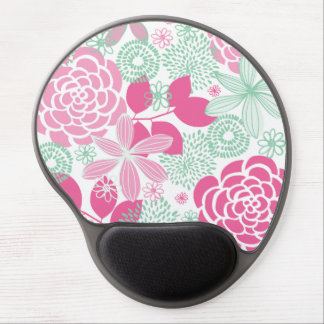 Fuchsia Pink & Mint Green Girly Floral Pattern Gel Mouse Pad