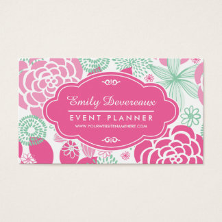 Fuchsia Pink Mint Green Girly Floral Personalized Business Card