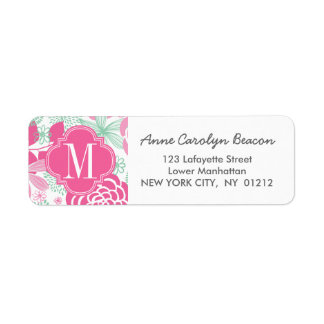 Fuchsia Pink Mint Green Girly Floral Personalized Label