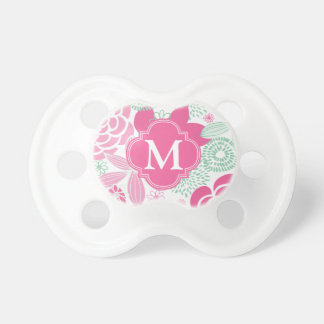 Fuchsia Pink Mint Green Girly Floral Personalized Baby Pacifier
