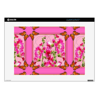 "Fuchsia Pink monarch Butterfly Floral Decals For 15"" Laptops"