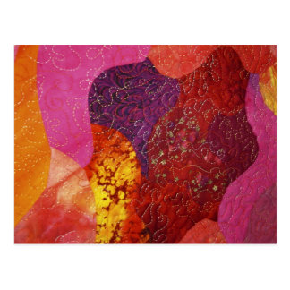 Fuchsia Pink Orange and Purple Quilt Postcard